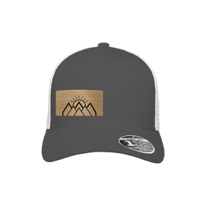 Mountain Sunrise Charcoal and White Flexfit Snapback Trucker