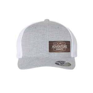 Adventure Awaits Silver Melange Flexfit Snapback Trucker