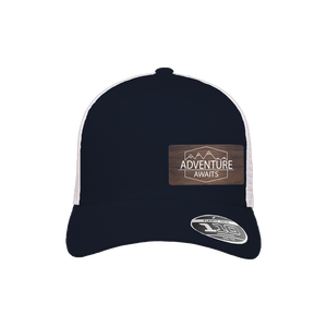 Adventure Awaits Navy and White Flexfit Snapback Trucker