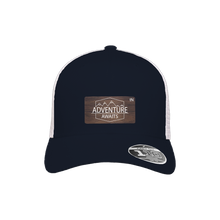 Load image into Gallery viewer, Adventure Awaits Navy and White Flexfit Snapback Trucker
