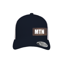 Load image into Gallery viewer, MTN Navy and White Flexfit Snapback Trucker