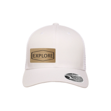 Load image into Gallery viewer, Explore White Flexfit Snapback Trucker