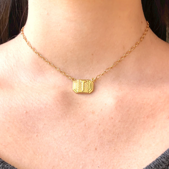 Art Deco Initial Necklace-Gold