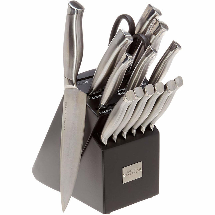 Emeril 15 Piece Hollow Handle Cutlery Set with Black Block