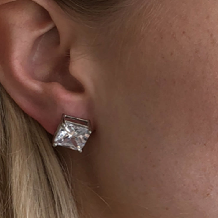 Glamour 5 Carat Square Cut CZ Stud Earring