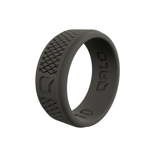 Men's Crosshatch Dark Grey Silicone Ring
