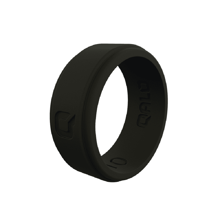 Men's Step Edge Black Silicone Ring