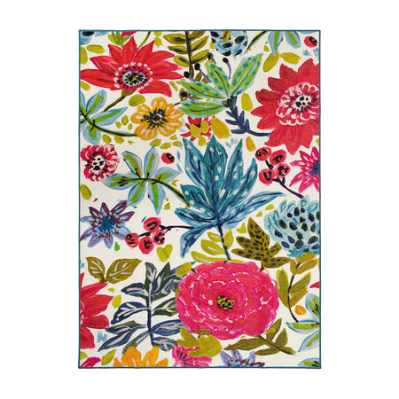 Floral Bloom Multicolor Washable Rug