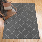 Medina Moroccan Diamond Grey Washable Rug