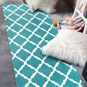 Moroccan Trellis Teal Washable Rug