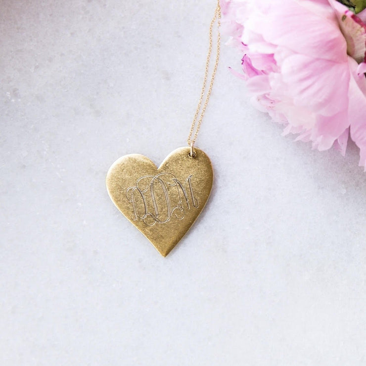 Large Antique Monogrammed Heart Necklace
