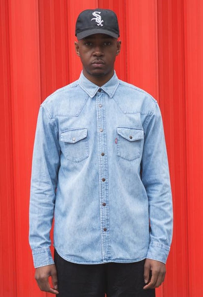 Vintage 90's Levi's Blue Denim Popper shirt