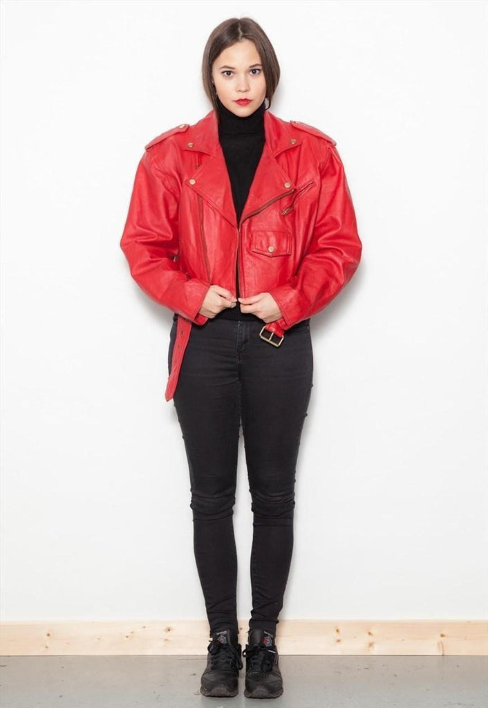 Vintage 1980's Red Leather Biker Jacket