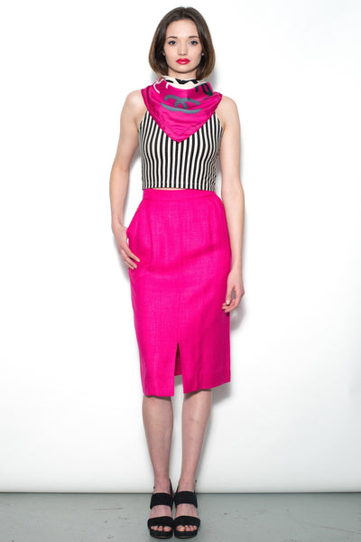 Vintage Bright Pink Jaeger Pencil Skirt