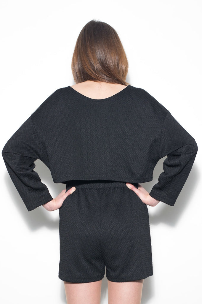 Black Stretch Jersey Two Piece