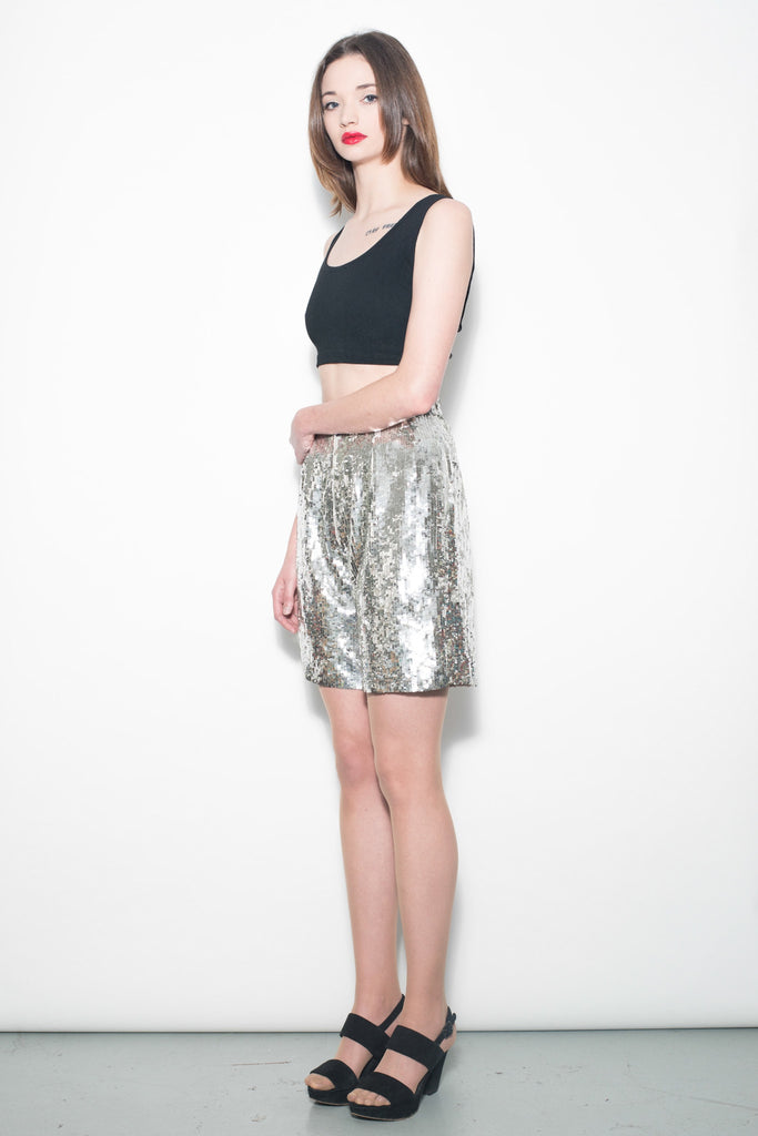 Vintage 1980's Silver Sequin Disco Shorts