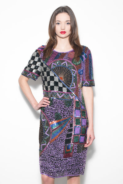 Vintage 1980's Purple Geometric Sequin Dress
