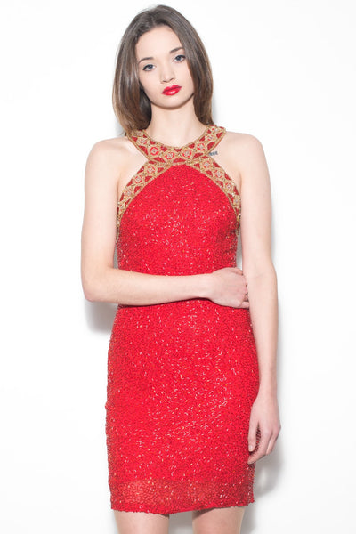 Vintage 1980's Bright Red and Gold Sequin Dress