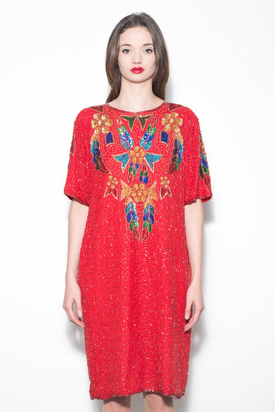 Vintage 1980's Bright Red Beaded & Sequin Encrusted Dress