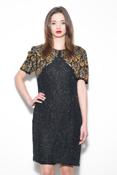 Vintage 1980's Black & Gold Sequin Dress
