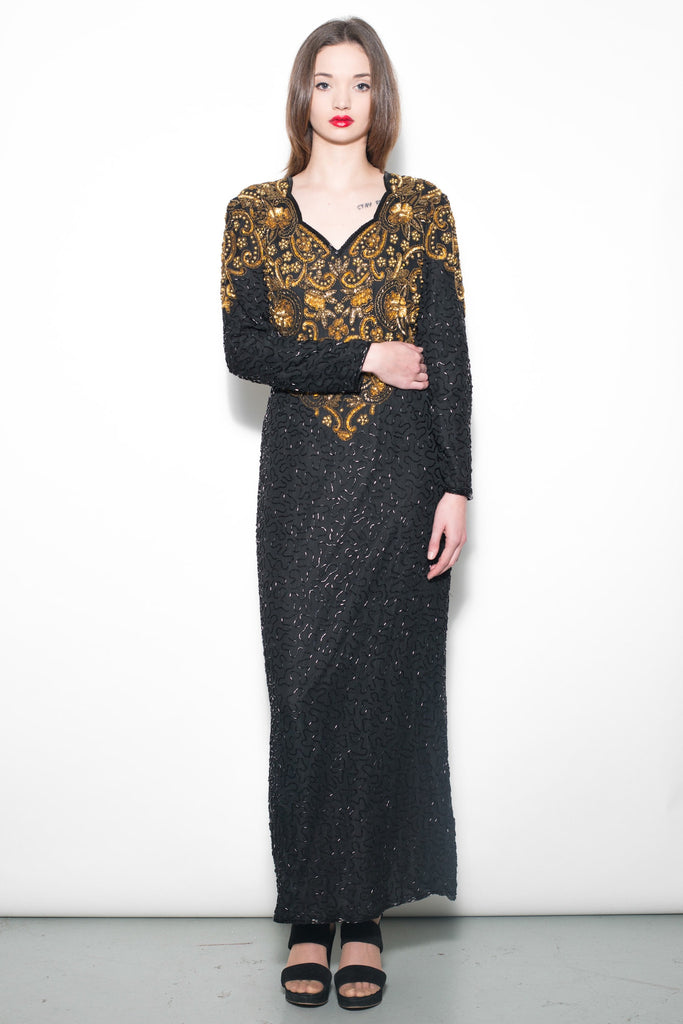 Vintage 1980's Black & Gold Sequin Maxi Dress