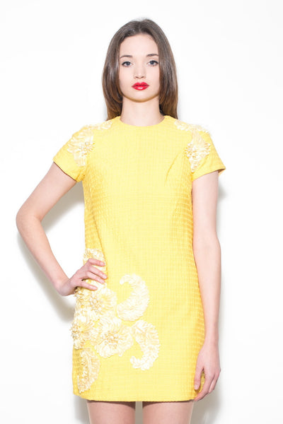 Vintage 1950's Yellow Embellished Shift Dress