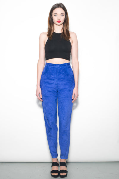 Vintage 1980's Electric Blue Suede Trousers