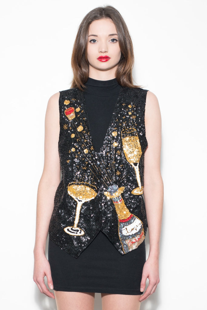 Vintage 80's Black Sequin Champagne Waistcoat