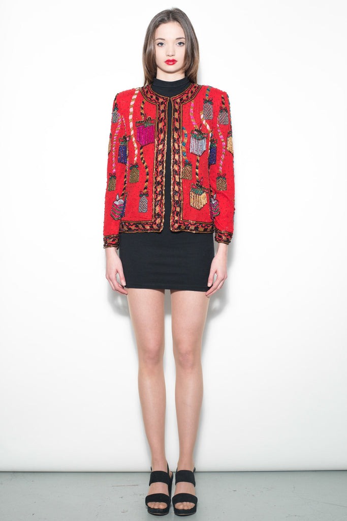 Vintage Red Sequin Trophy Jacket