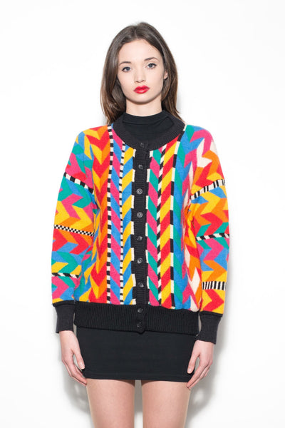 Vintage 80's Multi Colour Geometric Jumper