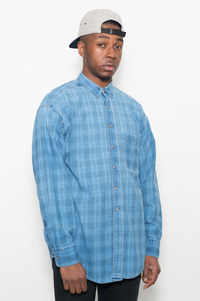 Vintage 90's L L Bean Blue plaid cotton Shirt