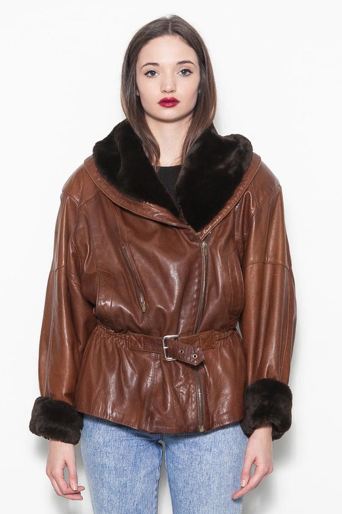 Vintage Brown Leather Aviator Faux Fur Winter Coat