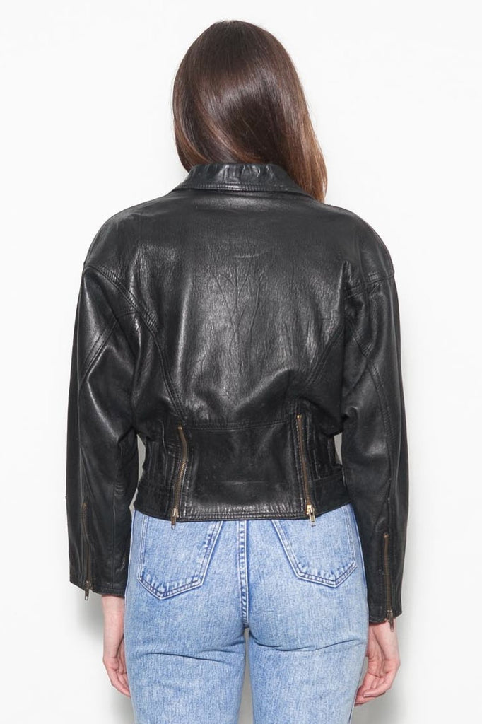 Vintage 1980's Black Leather Biker Jacket