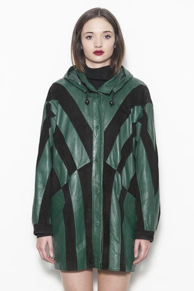 Yves Saint Laurent Genuine Black and Green Hooded Leather Coat