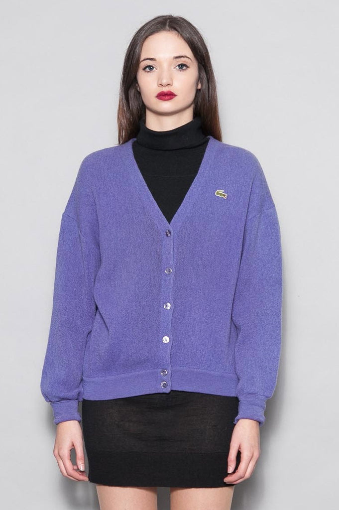 90's Purple Lacoste Pure Wool Cardigan