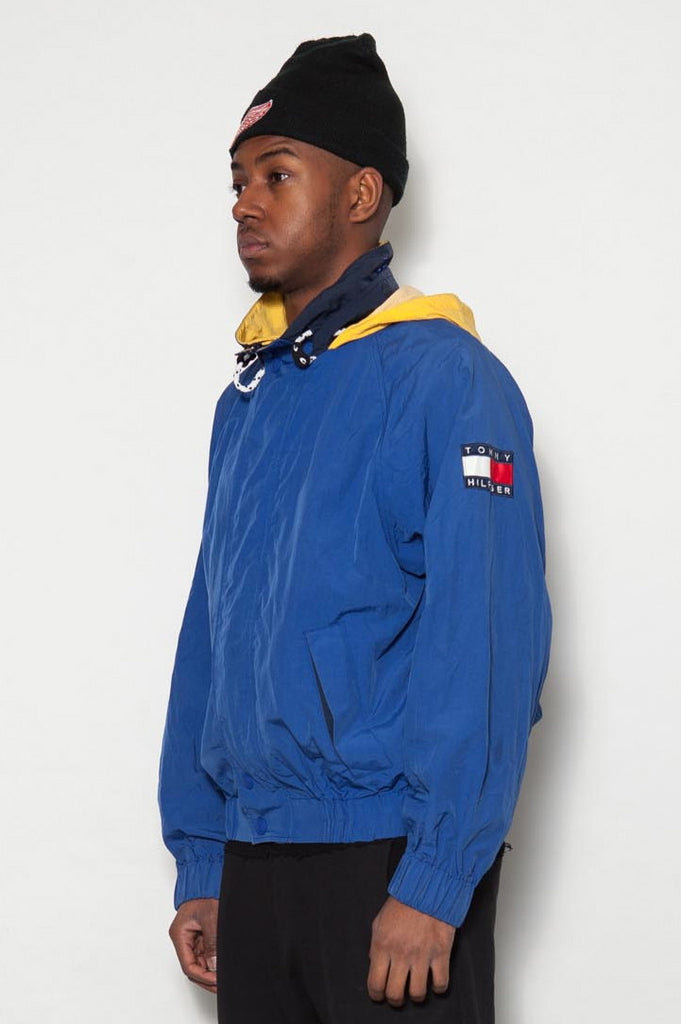 90's Blue Tommy Hilfiger Logo Windbreaker Jacket