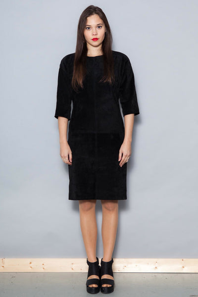 Vintage 1980's Black Suede Shift Dress