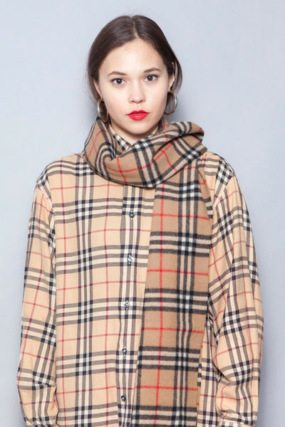 Burberry London Long Classic Nova Check Lambswool Scarf