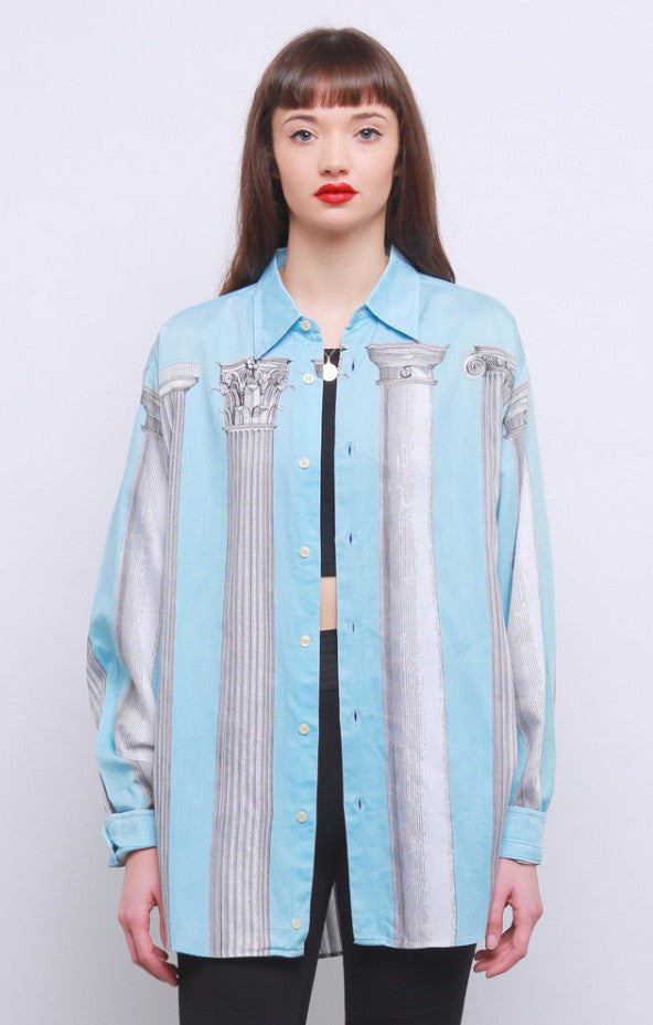Rare 90's Moschino Cheap and Chic Roman Pillar Print Shirt
