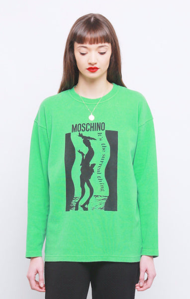 90's Green Moschino Logo Cotton Sweater Jumper