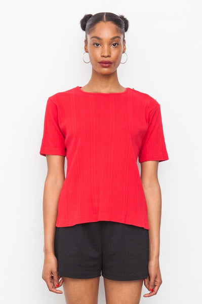 Burberrys vintage red ribbed Cotton t-shirt