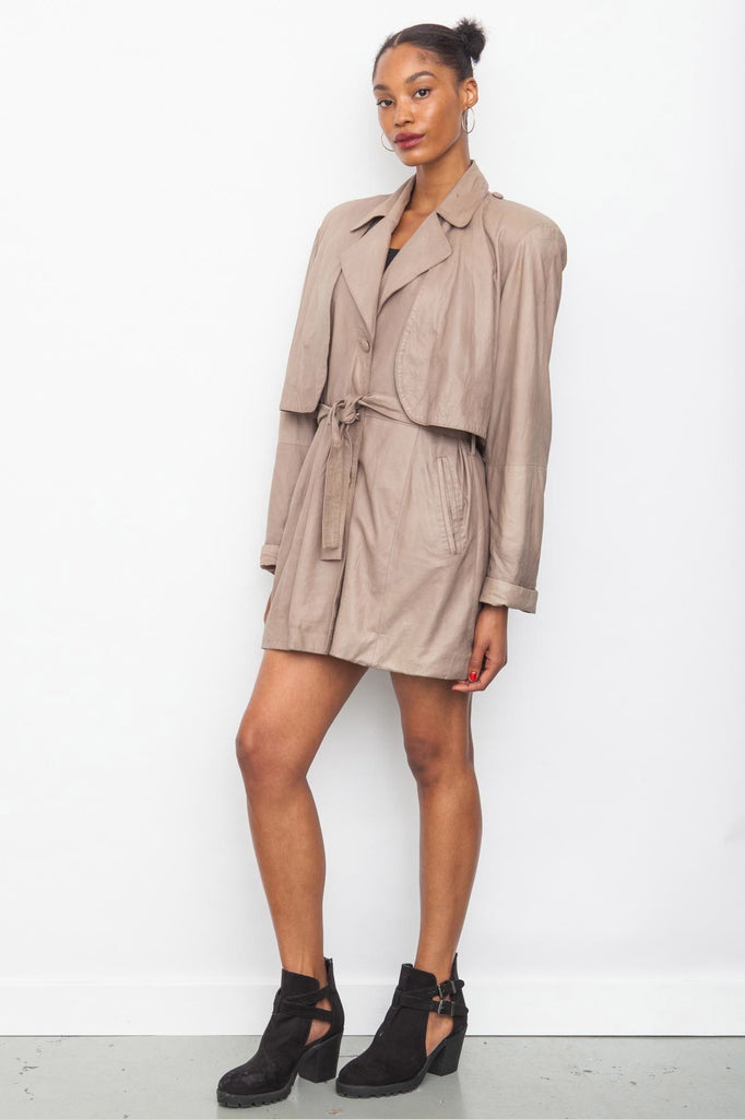 Vintage 1980's Taupe Leather Trench Coat