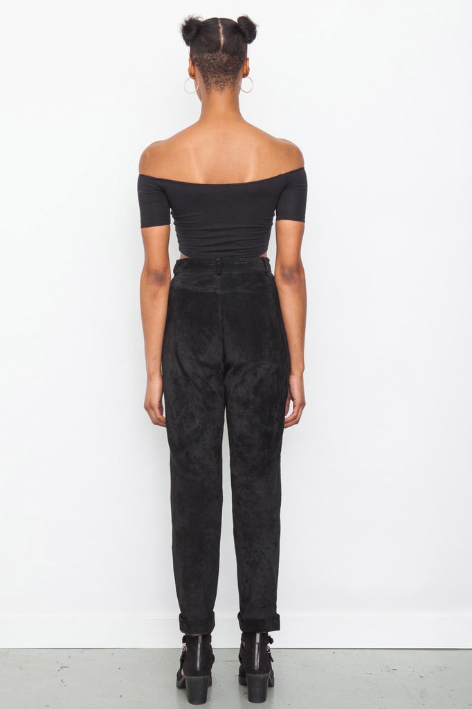 Vintage 1980's Black High Waisted Suede Trousers