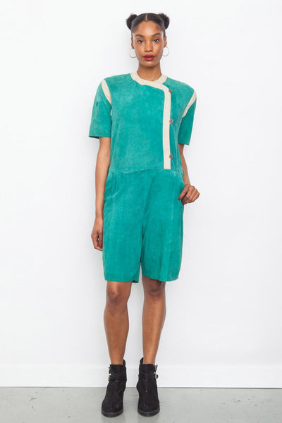 Vintage 80's Green Soft Suede Playsuit