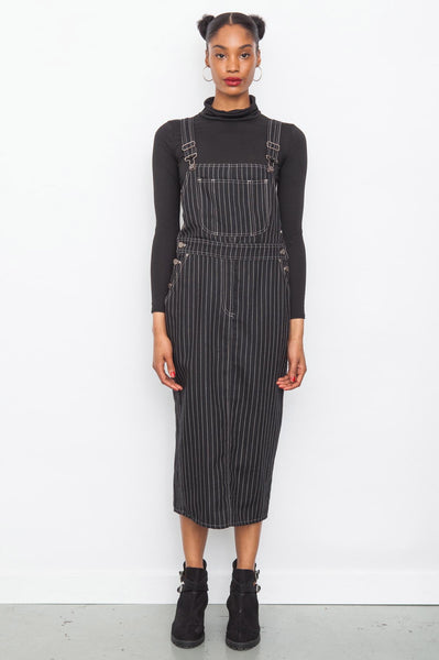 90's Black Pinstripe Moschino Wool Dungaree Dress