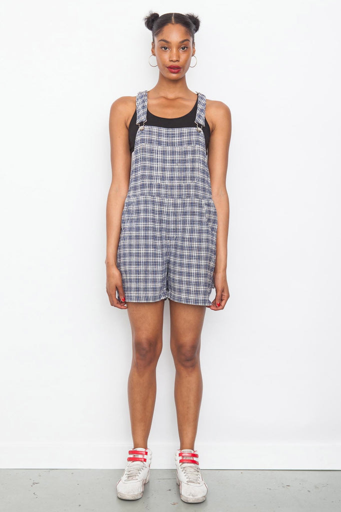 Vintage 90's light blue check plaid short dungarees