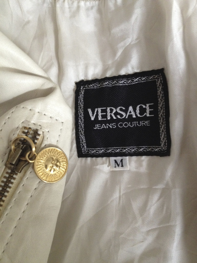 Vintage 1980's Cream Leather Versace Biker Jacket