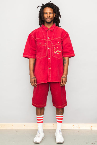 Karl Kani 90's Vintage red denim shirt and shorts combo