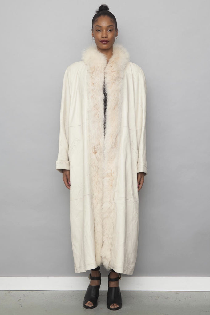 Vintage 1980's White Real Fox Fur Trim Leather Coat