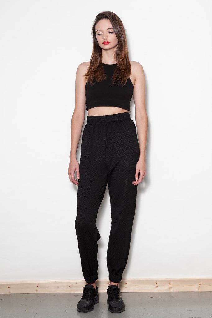 Black Stretch Jersey Joggers
